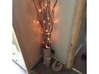 Brown Light Twigs in tall good quality glazed vase with Matching Swirl