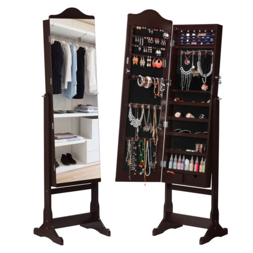 Standing Lockable Jewelry Boxes Cabinet Armoire Mirror Organ