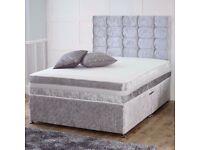 🎆💖🎆Silver Crushed Velvet🎆💖🎆CRUSH VELVET DOUBLE DIVAN BED + SEMI ORTHOPEDIC MATTRESS