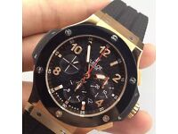 MENS HUBLOT BIG BANG GOLD AND BLACK NEW WITH BOX BOOK CARDS TAGS BAG