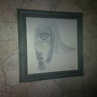 Robert Bateman canvas- Out of the White (Snow Leopard)