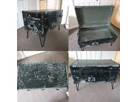 VINTAGE TRUNK COFFEE TABLE STORAGE CHEST UPCYCLED HANDMADE BESPOKE
