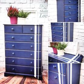 Beautiful Hand painted CHEST OF DRAWERS solid wood