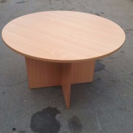 Large beech circular meeting room table