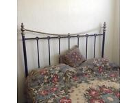 Metal frame double bed headboard