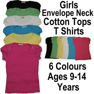 Girls-Fashionable-Envelope-Neck-Top-T-Shirt-Ages-9-14-Years-Summer-Skinny-Fit