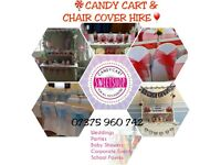 LONDON white chair covers OR candy cart for hire