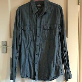 Topman Dark Blue Flannel Shirt