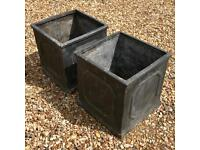 "Two Garden Pots 15"" Square"