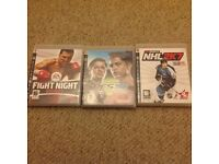 PlayStation 3 games X 3 including Pro Evolution Soccer, Boxing and Ice Hockey