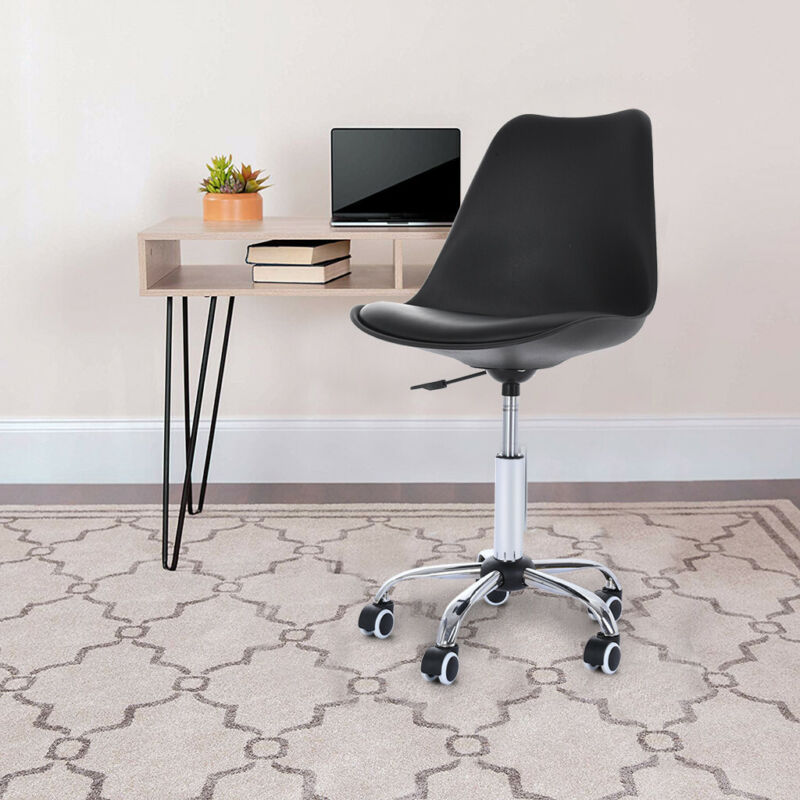 Office Chair PU Leather Middle Swivel Black