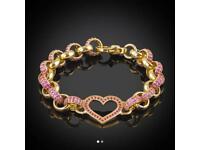 9ct kids pink heart bracelet