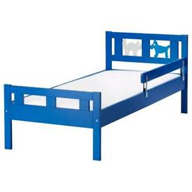 Ikea Blue Kritter bed with rail guard