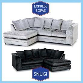 ☺️New 2 Seater £169 3S £195 3+2 £295 Corner Sofa £295-Crushed Velvet Jumbo Cord Brand 🂈D8
