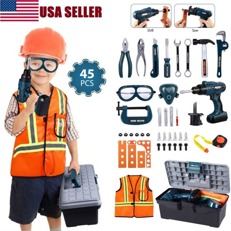 45pcs Children Kids Drill Tool Box Set DIY Builders Building Construction Toy US - $27.94