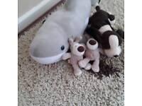 Children's soft toy bundle 2×boofie, large shark and medium sized dog