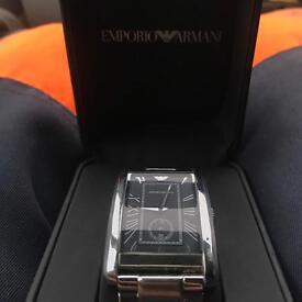 Emporio Armani silver rectangle watch