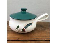 "Denby ""Greenwheat"" Lidded Handled Soup Dish, Large Signed by Albert College - Designer"