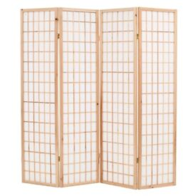 Folding 4-Panel Room Divider Japanese Style 160x170 cm Natural-245902