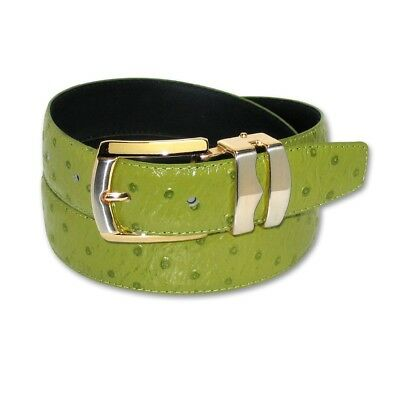 Green Lime (OSTRICH Pattern LIME GREEN Bonded Leather Men's Belt Gold-Tone Buckle)