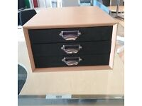 Small beech cupboard with black drawers