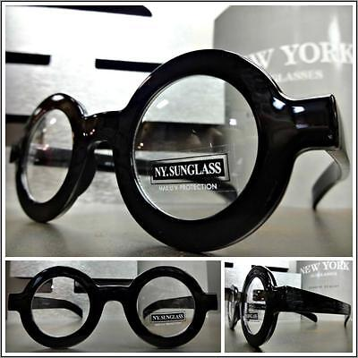 Men's VINTAGE RETRO Style Clear Lens EYE GLASSES Small Round Black Fashion (Round Eye Frames)