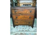 Solid oak 1940s Art Deco chest of drawers