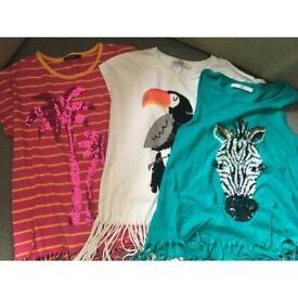 3 girls glitter tassel t shirt