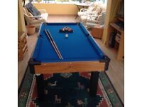 Full size Pool table with balls, triangle, cues, chalk & brush.