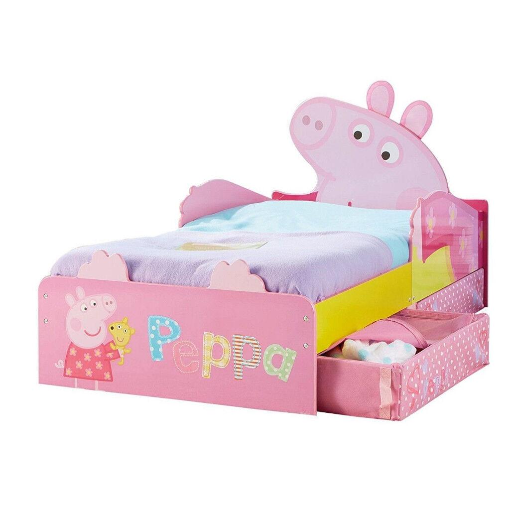 Kids Toddler Bed Underbed Storage Girls Bedroom Children Drawer Peppa Pig Pink