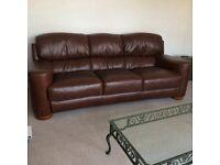Leather sofa set dark brown one two three seater