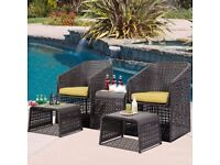 **FREE UK DELIVERY** 5 Piece Contemporary Rattan Outdoor Set with Footstools- BRAND NEW!