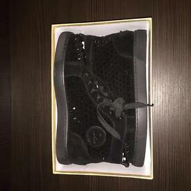 Christian Louboutin Men's High Top Suede Spiked Sneakers
