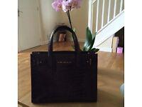 Kurt Geiger Wine Colour Croc Leather Handbag