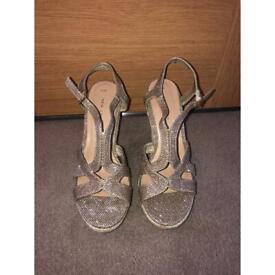 Gold Glitter Wedges - UK Size 4