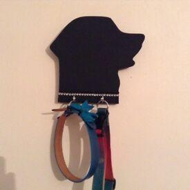 Dog shaped chalk board with diamonties