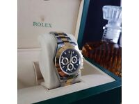 TwoTone Black Faxe Rolex Daytona £120!! With Box and Paperwork £140!!