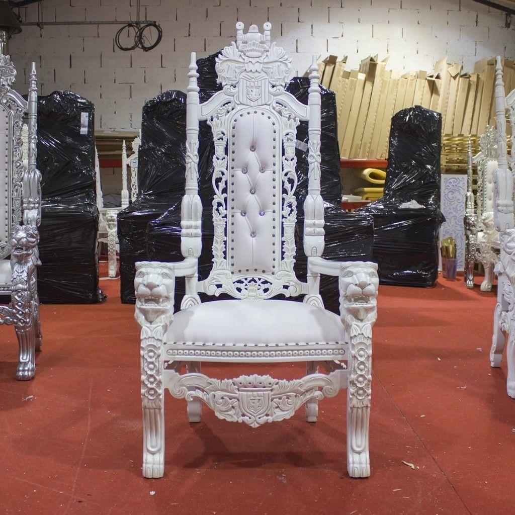 99 Hire   2x White Lion Throne Chairs   Wedding Rent Rental ...
