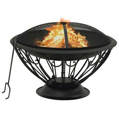 vidaXL Fire Pit with Poker 75 cm XXL Steel Fire Bowl Patio Heater Home Garden