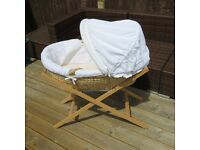 Mamas and Papas white waffle moses basket and stand