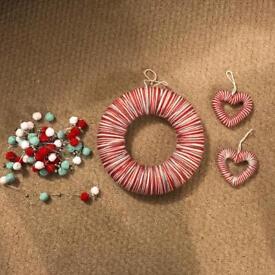 Christmas wool and pom pom decorations £5