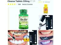 Charcoal Mint Flavour whitening toothpaste , tan tablets and weight loss tablets