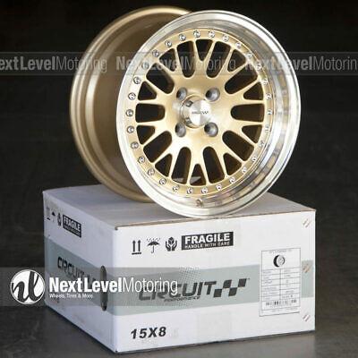 Circuit CP21 15x8 4-100 +25 Gold Wheels Fits Honda Civic EK EG JDM Mesh