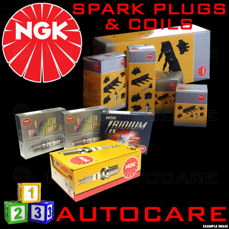 NGK Iridium Spark Plugs & Ignition Coil Set DFH6B-11A (6858)x8 & U5084 (48269)x8