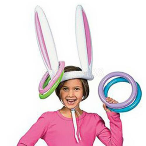 Inflatable Easter Bunny Ears Rabbit Hat Ring Toss Hawaiian C