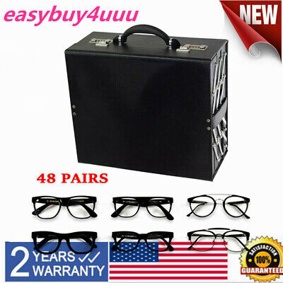 48 Pairs Sunglasses Eyeglass Display Tray Case Suitcase Key Lock PU leather (Sunglasses Display Trays Leather)