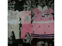 Baby girl clothes bundle and cot mobile