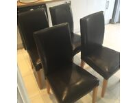IKEA Henrikstal Brown Leather Dining Chairs