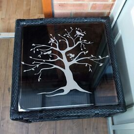 Glass Black Gloss Coffee Occasional Table Bird Tree of Life Good Used Condition