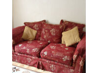 Two and one piece red coloured sofa